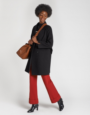 Black three-quarter wool coat