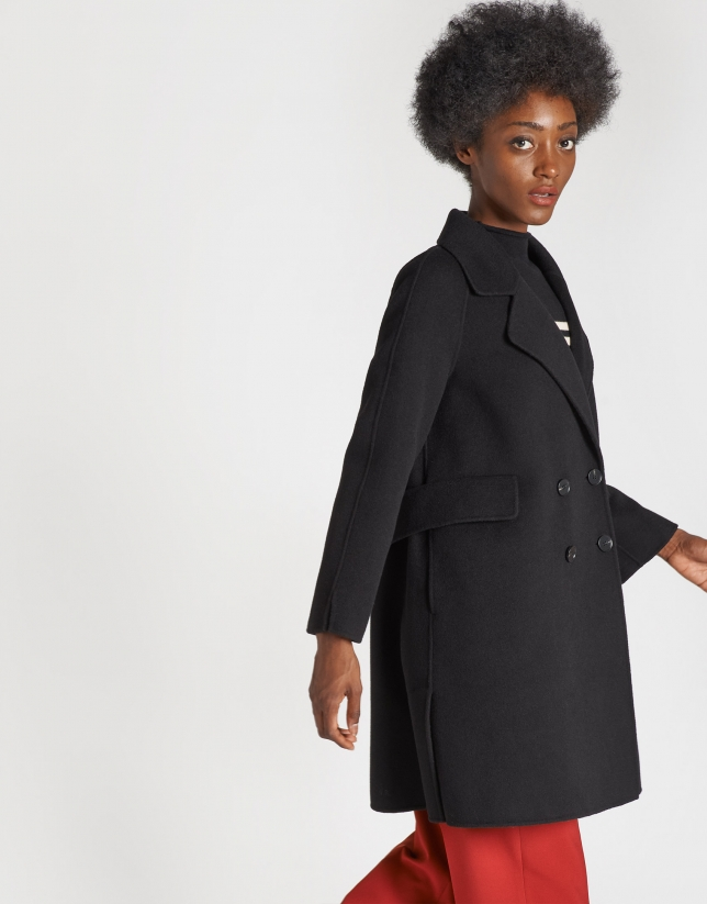 Black three-quarter wool coat