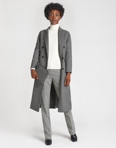Double-faced houndstooth long coat