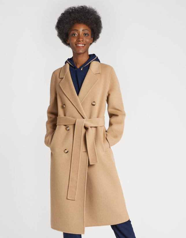 Abrigo lana doble faz cámel