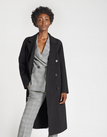 Black double-faced wool coat