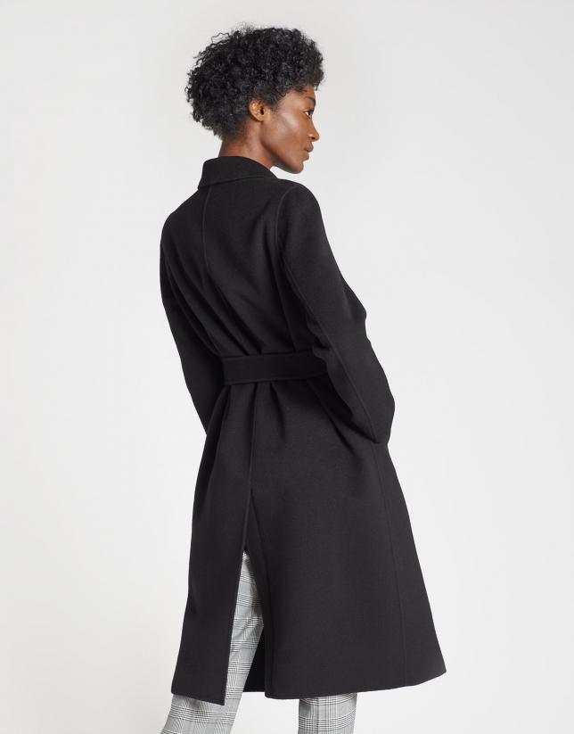Abrigo lana doble faz negro