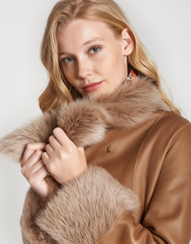 Camel leather and fur reversible coat