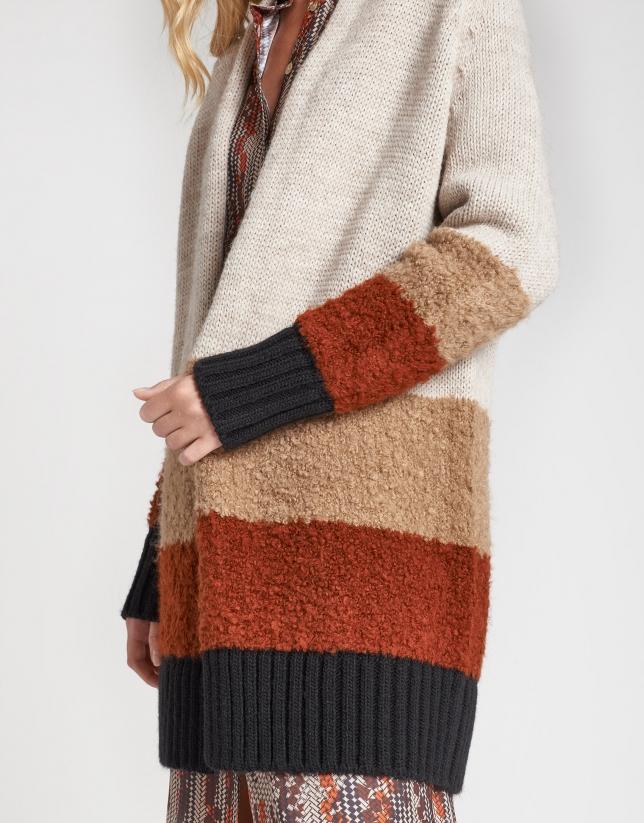 Tri-color long jacket