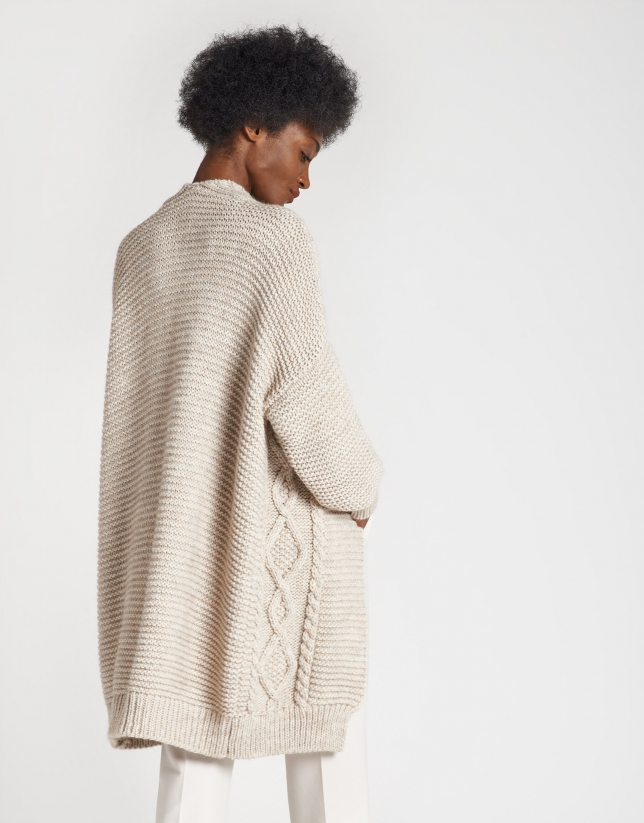 Beige knit long jacket