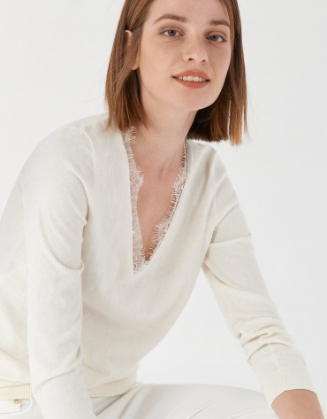 Beige sweater with lace and V-neck