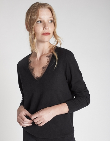Black sweater with lace and V-neck