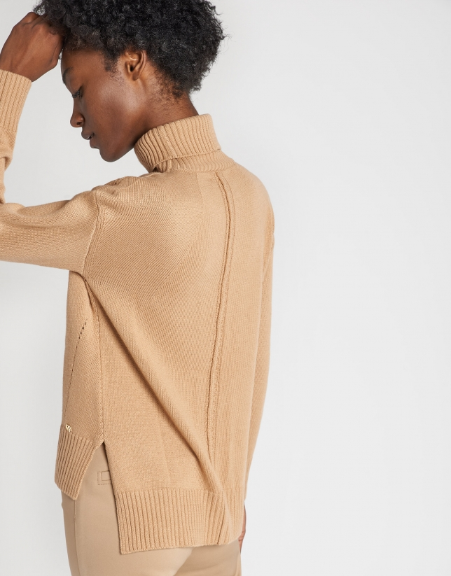 Beige sweater with slits