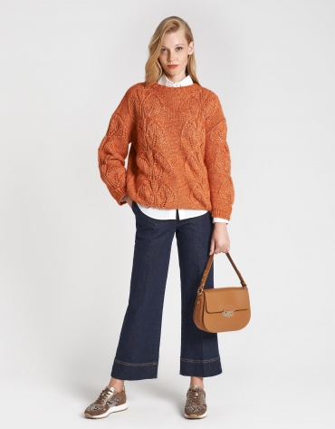 Red brick openwork sweater