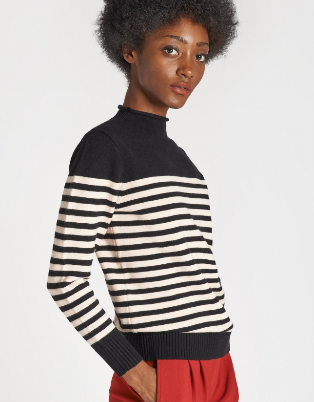 Two-tone black and beige sweater