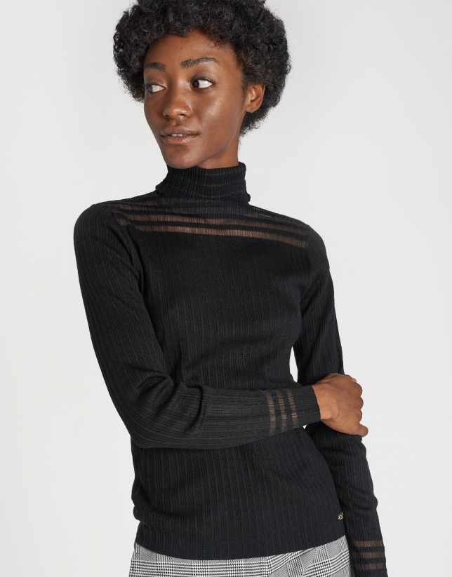 Black ribbed sweater with transparencies
