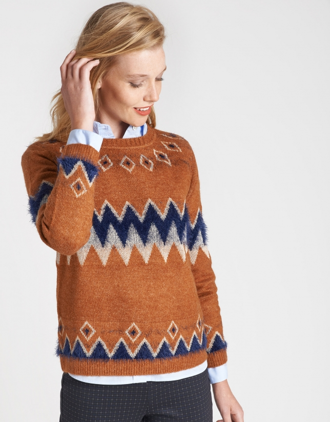 Dark brick sweater with alpine design