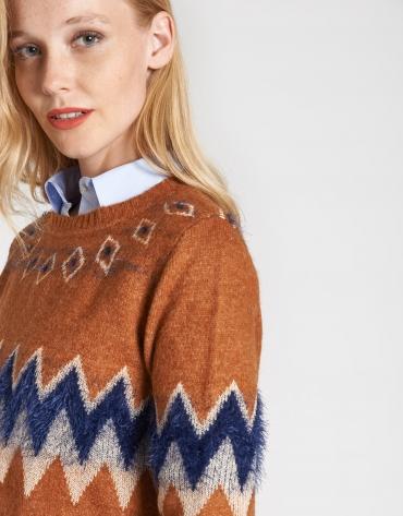 Dark brick sweater with alpine design