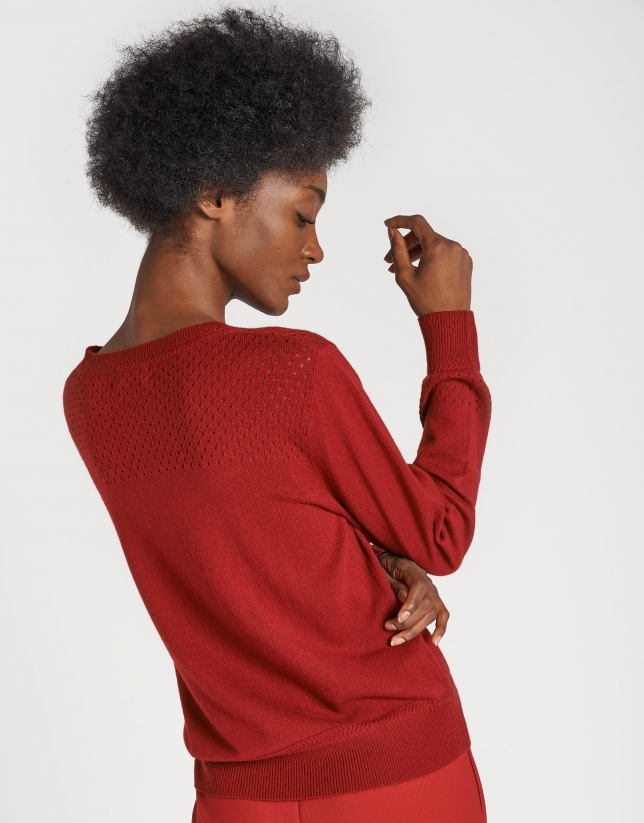 Red openwork sweater