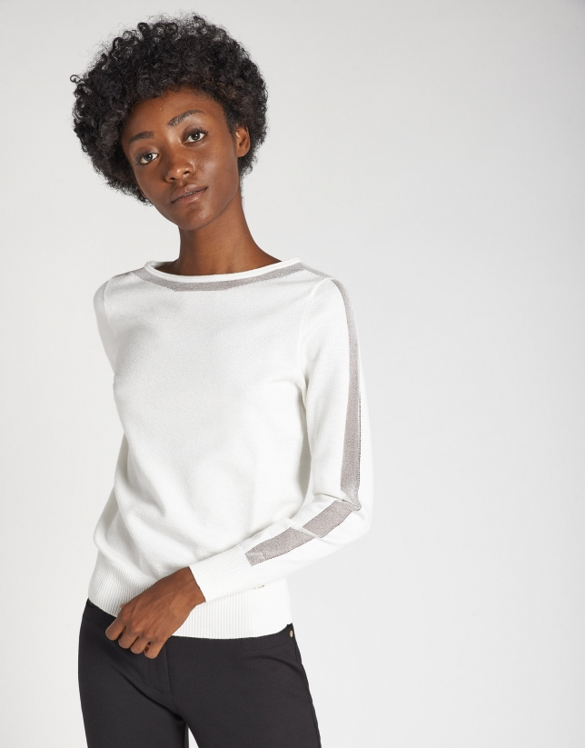 Beige fine knit sweater with transparencies