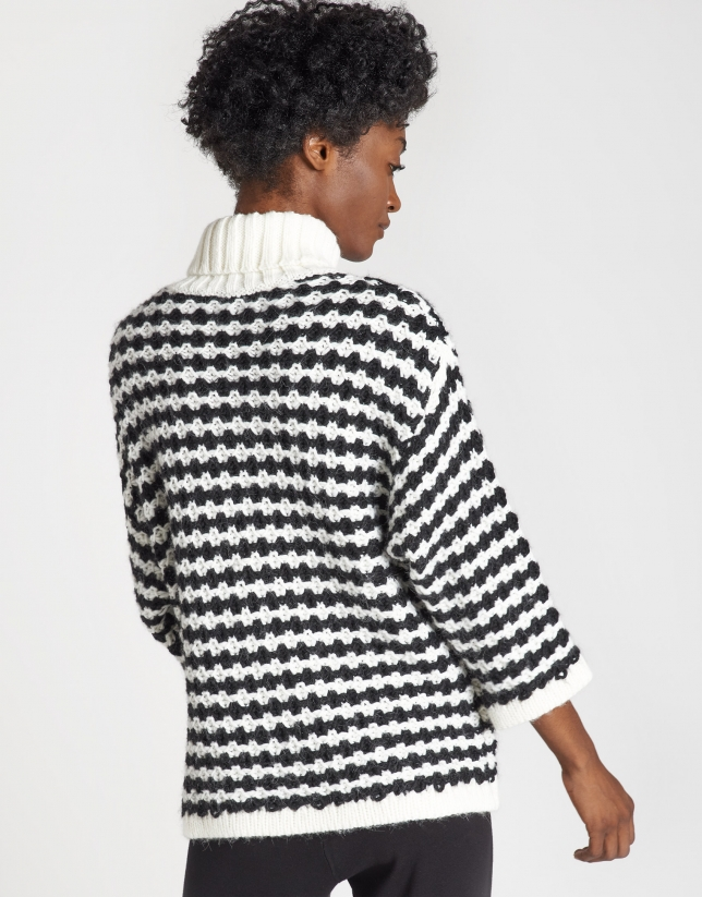 Black and white oversize sweater