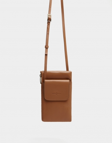 Brown leather cellphone bag