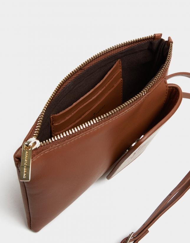 Bolso portamóvil piel marrón