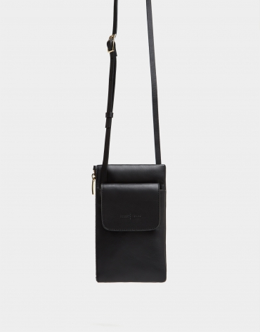 Black leather cellphone bag