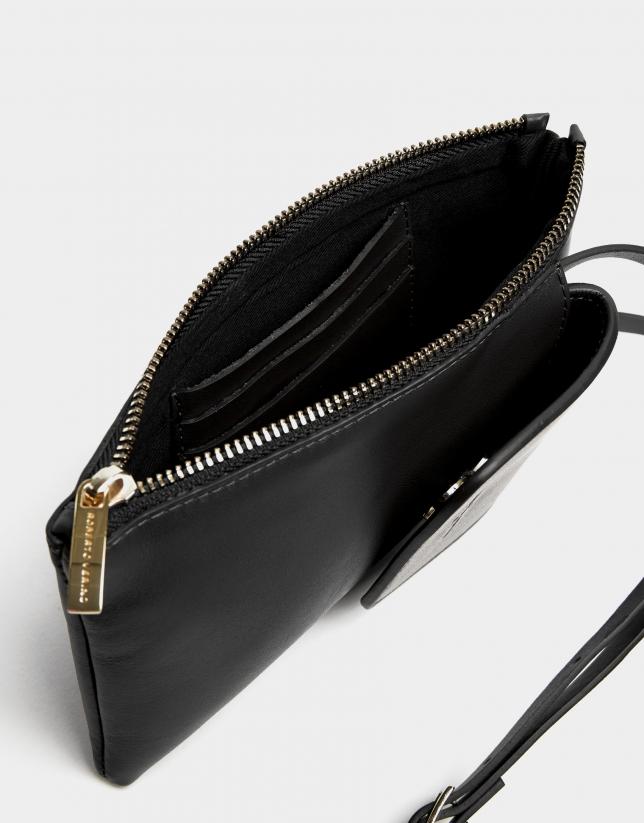 Bolso portamóvil piel negra