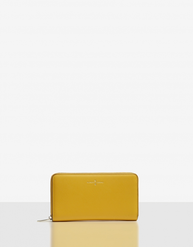 Big mustard Saffiano leather Juliete billfold