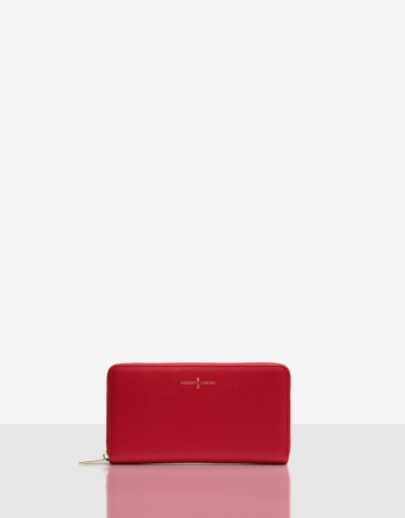 Billetera grande Juliete piel saffiano roja