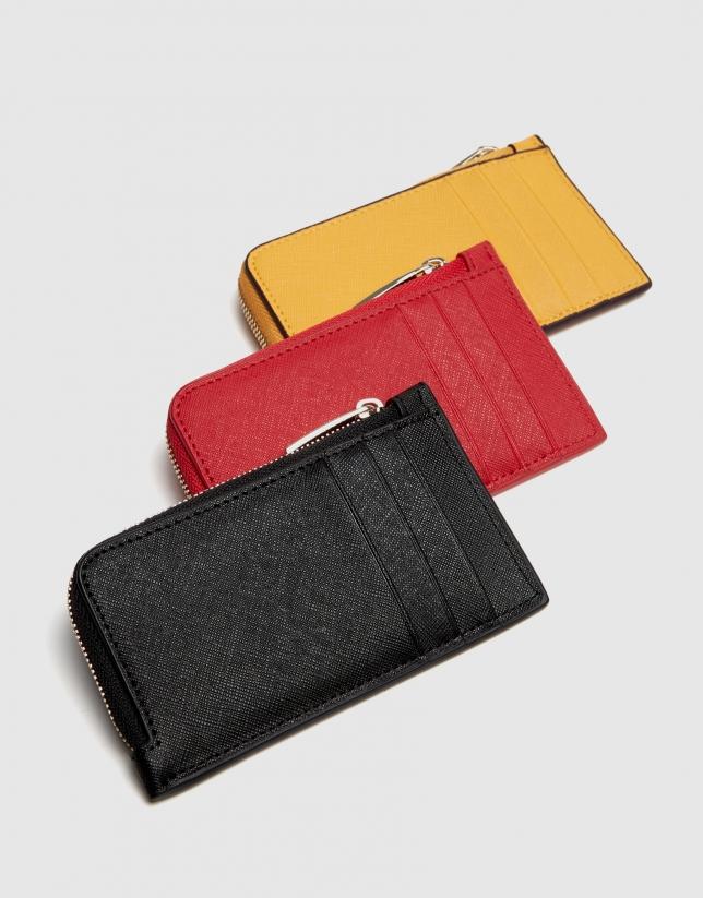 Mustard Saffiano leather Juliete coin purse