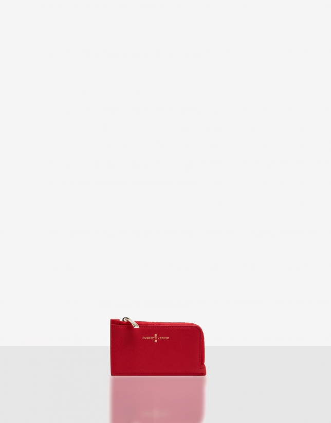 Red Saffiano leather Juliete coin purse