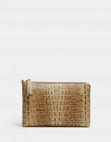 Alligator embossed leather Lisa clutch bag