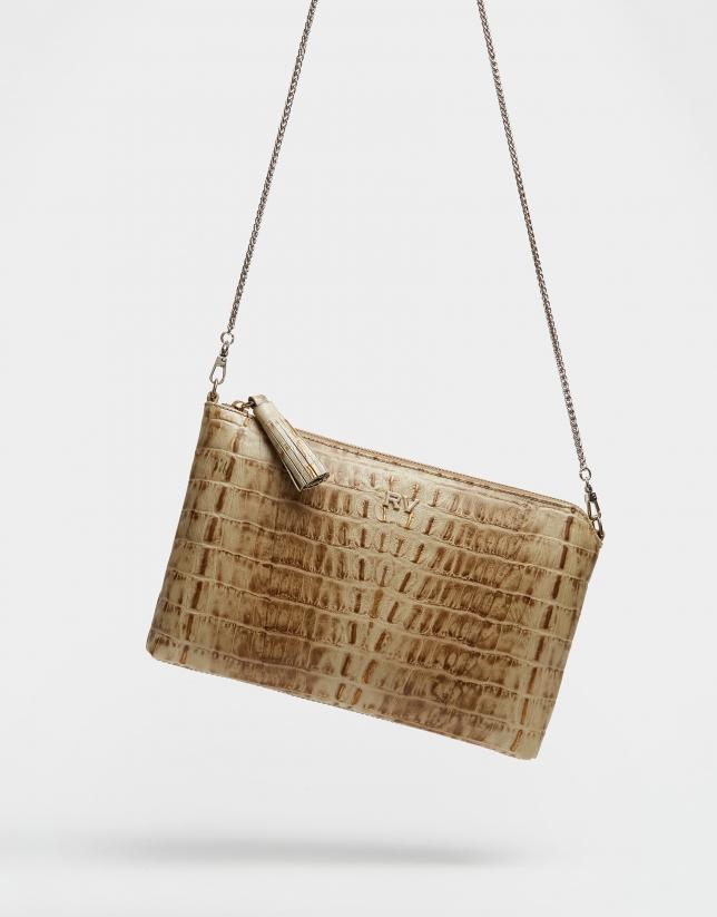 Alligator embossed leather Lisa clutch bag
