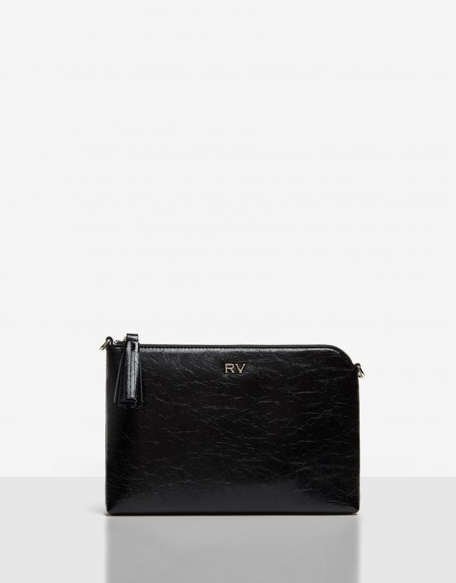Black cracked leather Lisa clutch bag