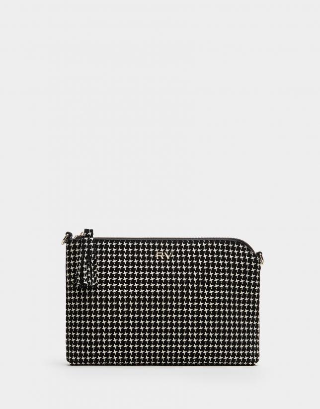 Houndstooth leather Lisa clutch bag