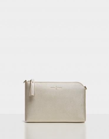 Beige shiny saffiano leather Lisa clutch bag