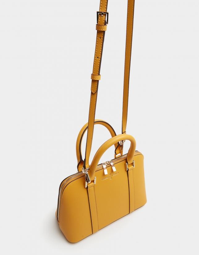 Mustard Saffiano leather Lupita handbag