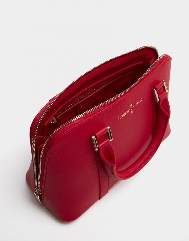 Bolso de mano Lupita saffiano rojo