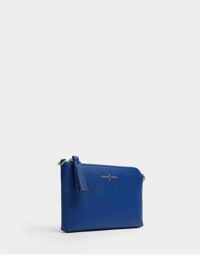 Blue saffiano leather Lisa Nano clutch bag