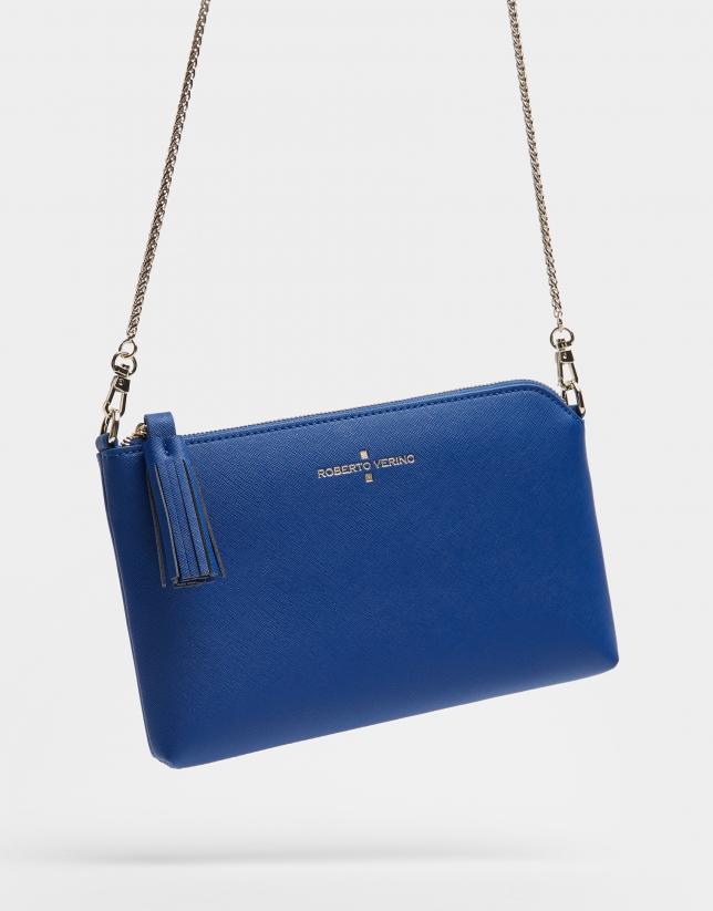 Blue plain leather Lisa Nano clutch bag