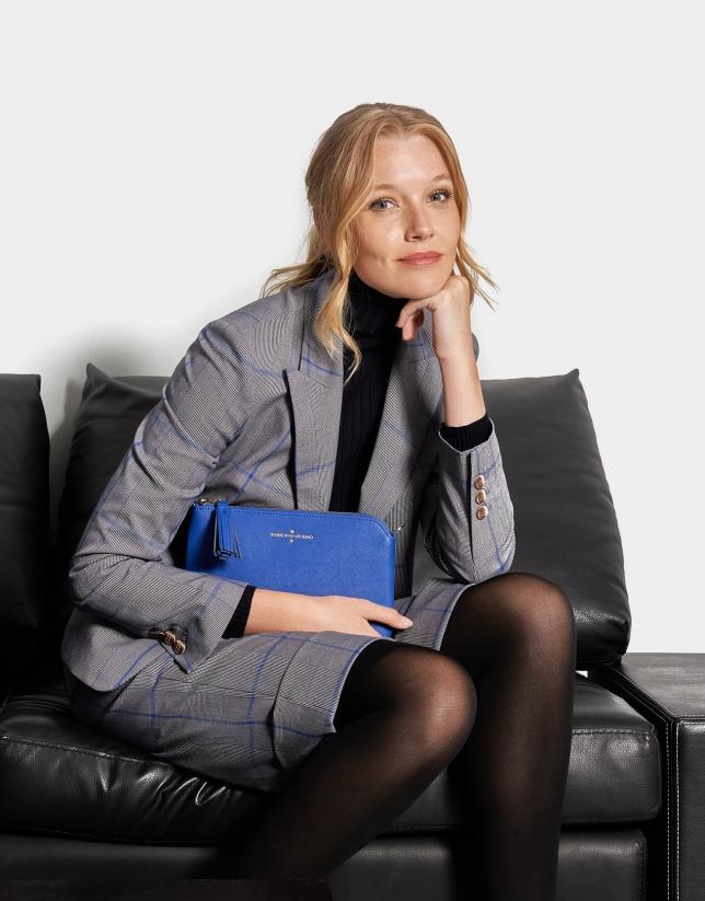 Blue saffiano leather Lisa Nano clutch bag