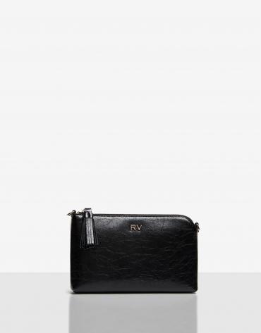 Shiny Black cracked leather Lisa Nano clutch bag