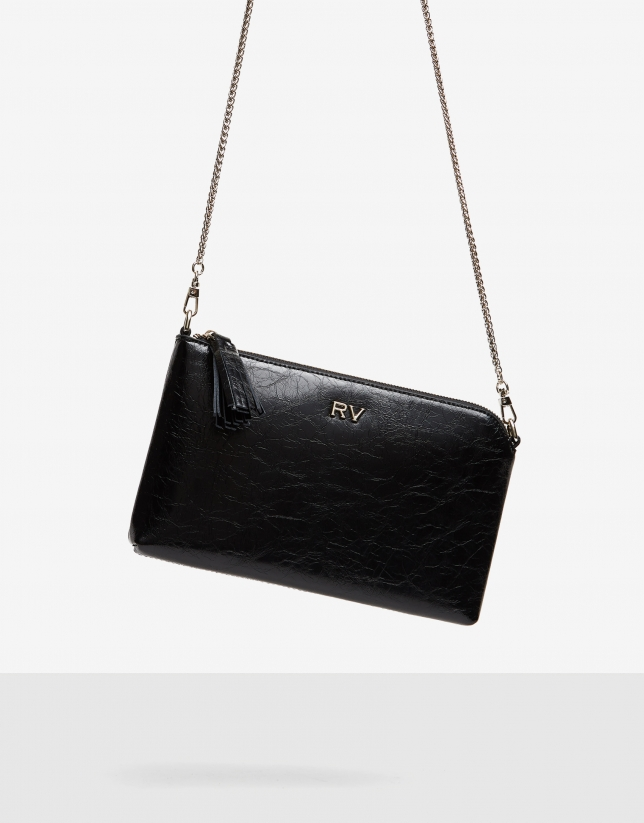 Bolso clutch Lisa Nano negro brillante