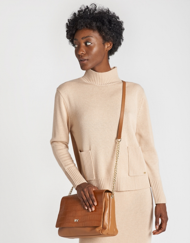 Midi tan leather Valentina shoulder bag