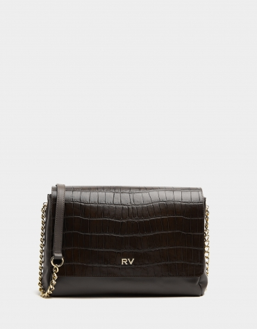 Midi brown leather Valentina shoulder bag