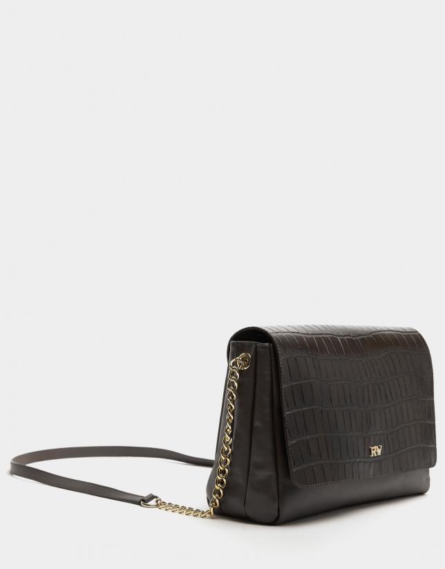 Midi brown leather Valentina shoulder bag