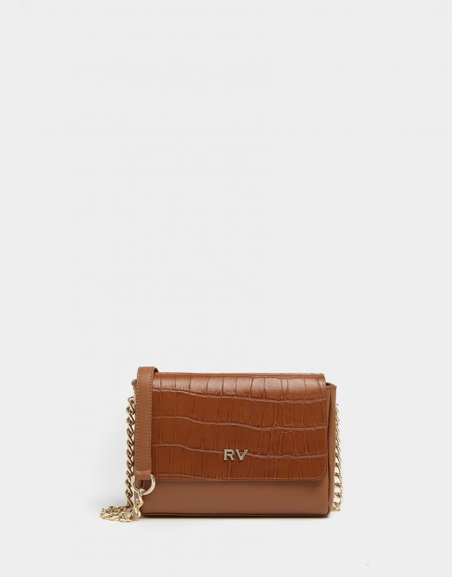 Mini brown leather Valentina shoulder bag