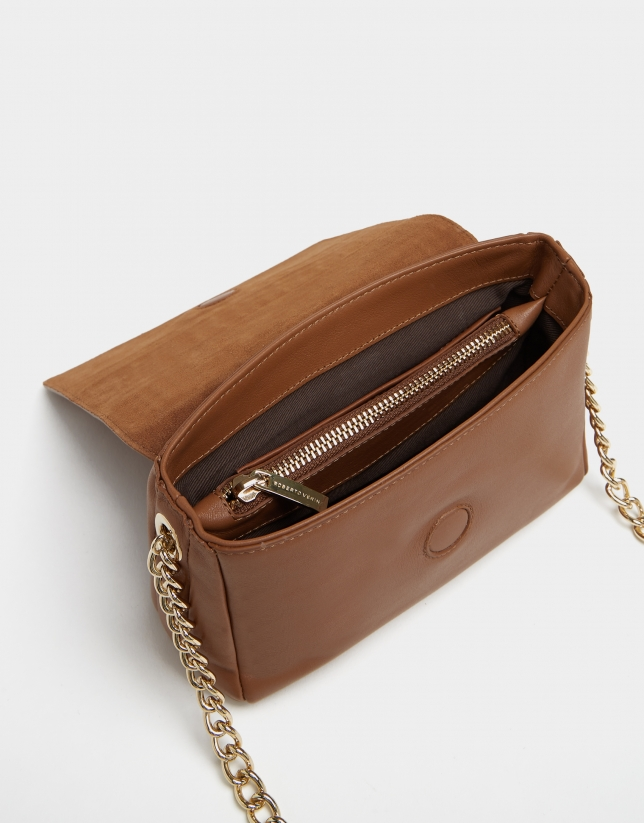Mini brown leather Valentina shoulder bag