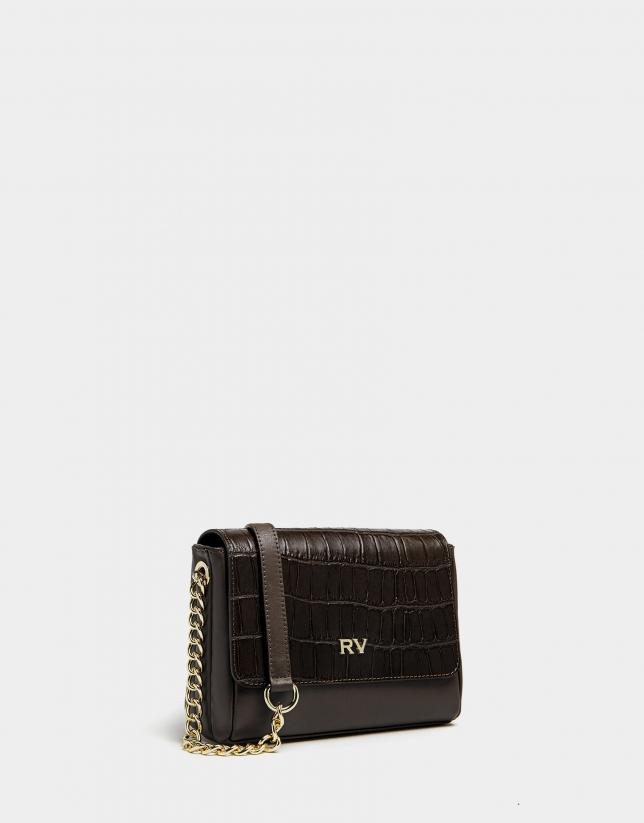 Mini dark brown leather Valentina shoulder bag