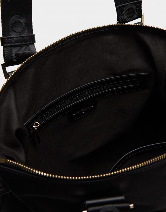 Black nylon Maxi Simoneta shopping bag
