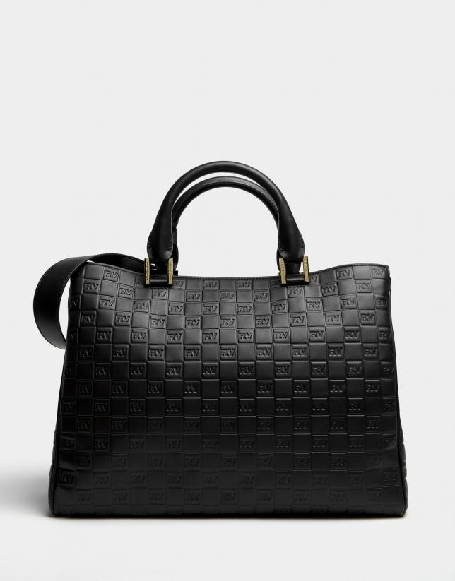 Black leather Tattoo satchel bag