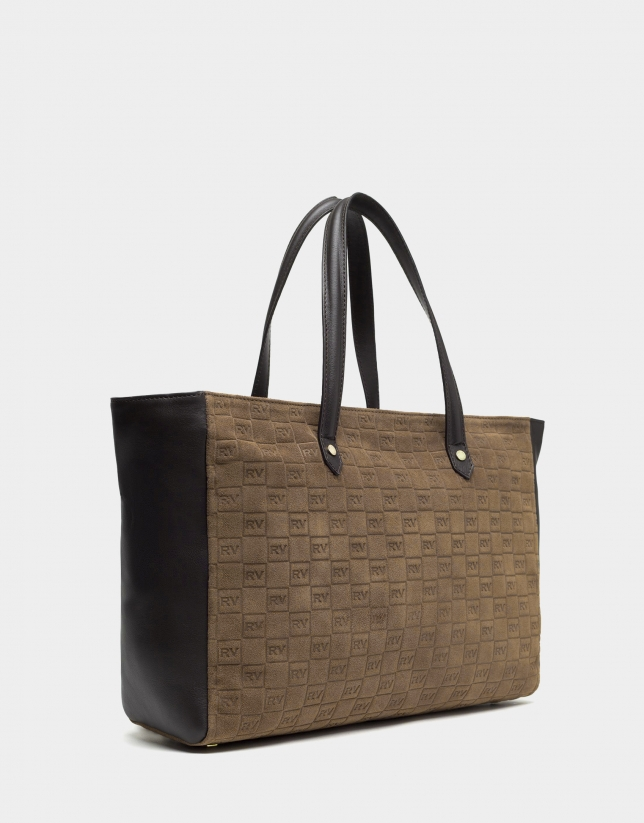Brown suede/leather shopping bag with logos