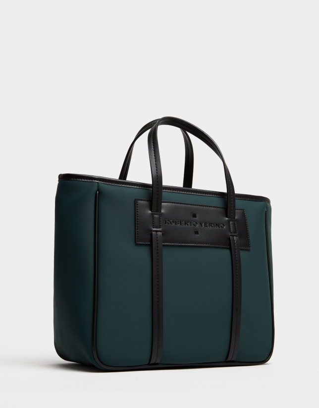 Green neoprene Midi Nora shopping bag